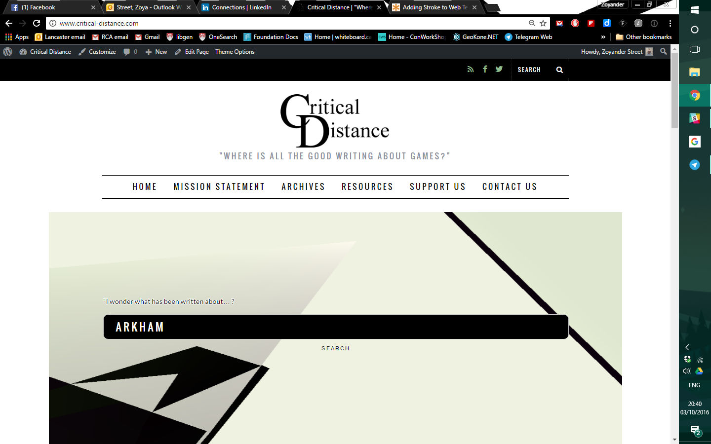 New design of Critical Distance home page