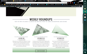 New design of Critical Distance home page, below the fold